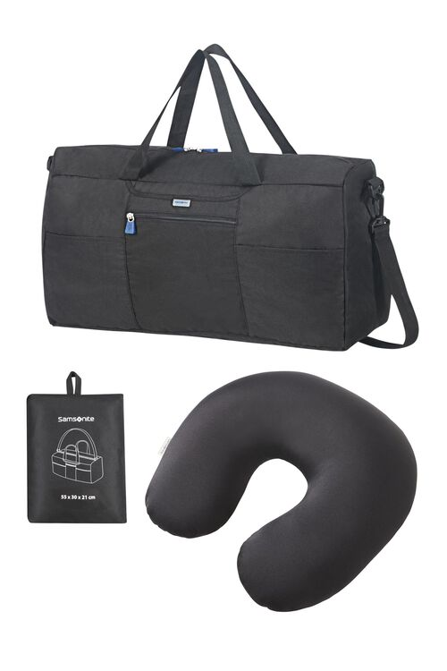 FESTIVE GIFTING GLOBAL TA FOLDABLE DUFFLE + GLOBAL TA MICROBEAD TRAVEL PILLOW